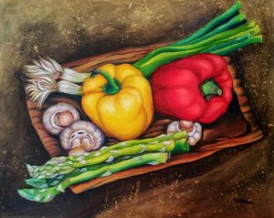A Plate with Veggies Painting