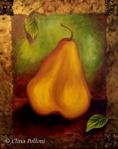 Gold Pear With Leaves