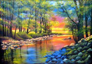 Orange Reflections in The Oconaluftee River