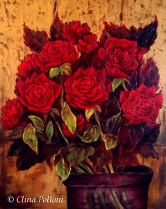 Red Roses In A Cristal Base