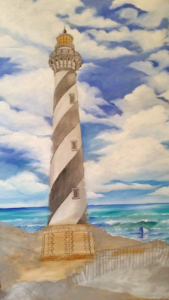 Cape Hatteras Lighthouse under-paint