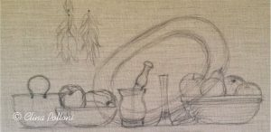 Still Life on Burlap Canvas Drawing