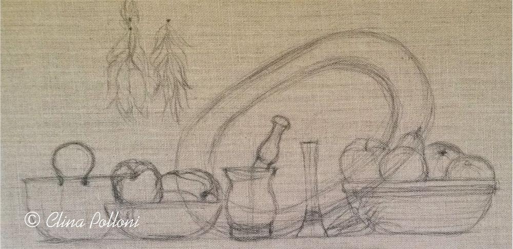 Still Life on Burlap Canvas Drawing
