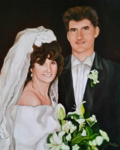 Wedding Oil Portrait With Flowers