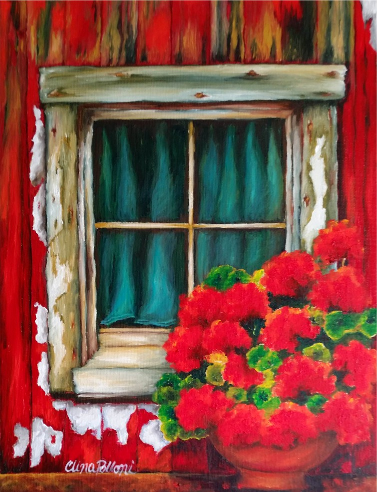 Red Geraniums on a Red House