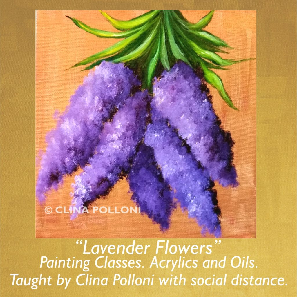 Painting Class acrylics oils-Lavender Flowers