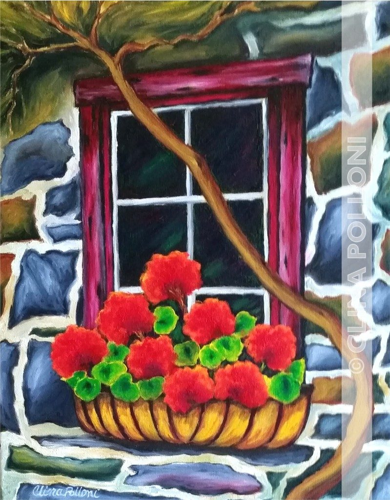 Red Geraniums in a Stone House Window