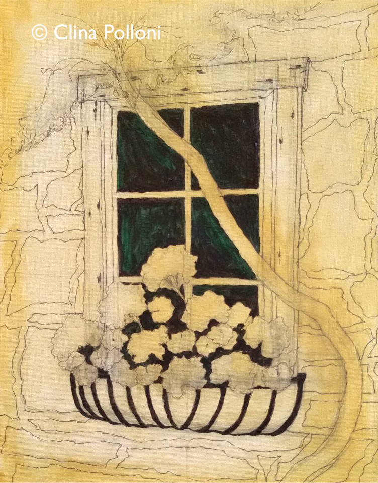 Red Geraniums in a Stone House Window Under-Paint
