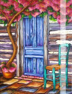 Blue Door in a Log Cabin