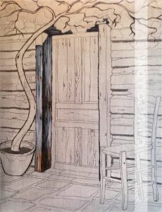 Blue Door in a Log Cabin Under-Paint