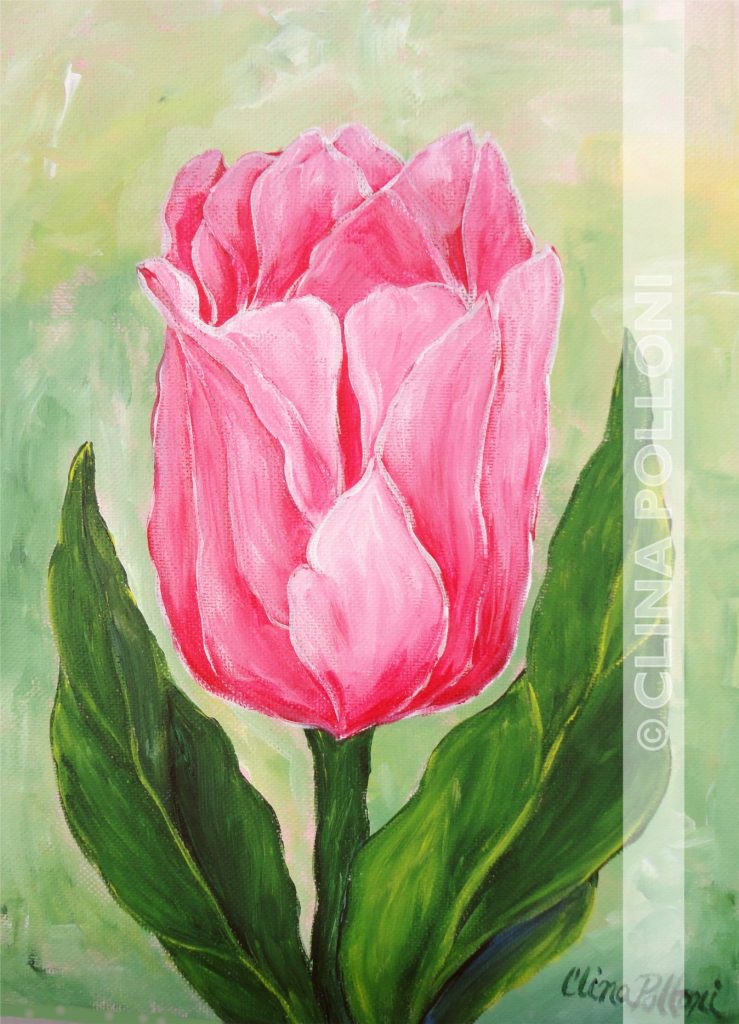 Flower-Pink Tulip Painting