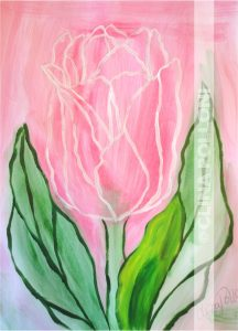 Flower-Pink Tulip-Under-paint