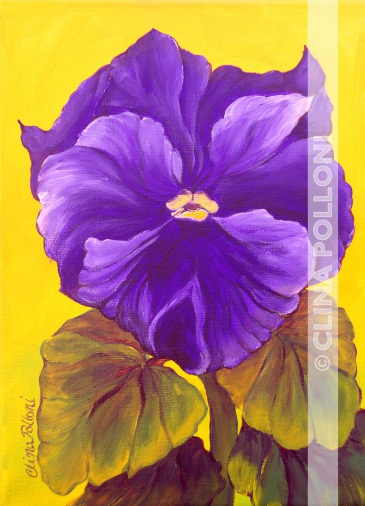 Flower-Purple Pansy Painting