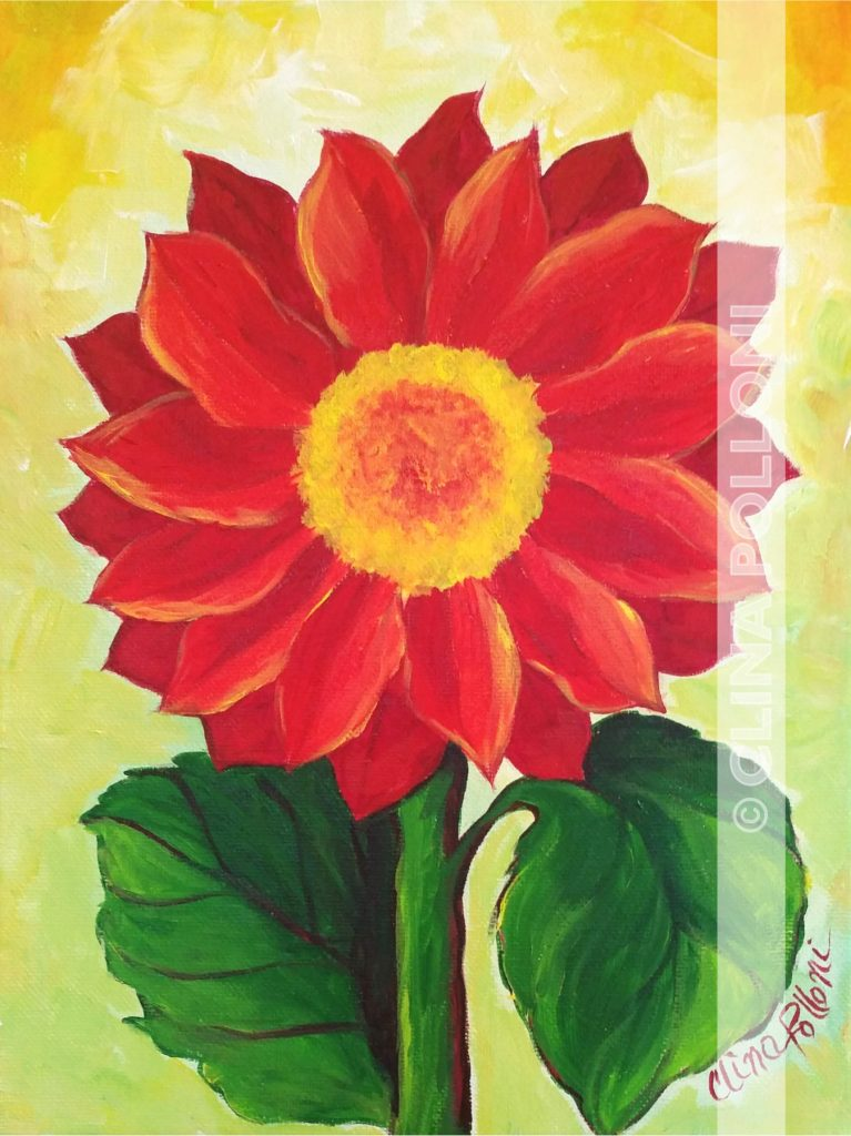 Red Daisy Flower Painting