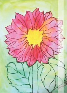 Red Daisy Under-Paint Outline
