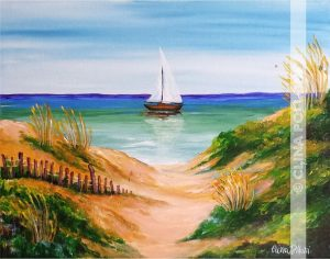Sea Dunes with Sail Boat