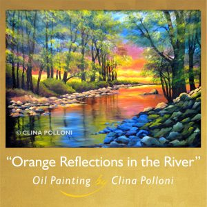 Orange Reflections in the River-Landscape by Clina Polloni