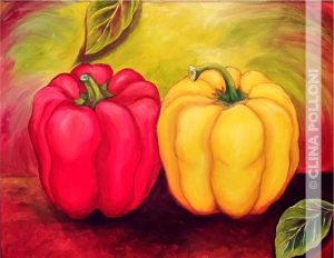 Still Life-Red and Yellow Peppers Painting 2