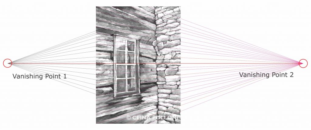 Log Cabin Window in Perspective Drawing