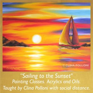Painting Class acrylics oils-Sailing to the Sunset Seascape
