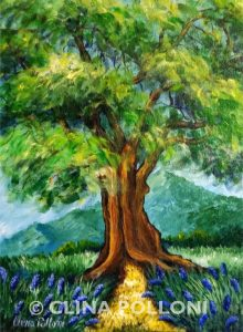 Tree in a Field of Lavender Painting