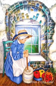 Girl Making Butter Painting