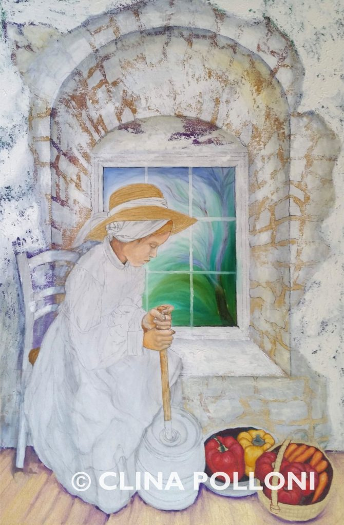 Girl Making Butter Underpaint