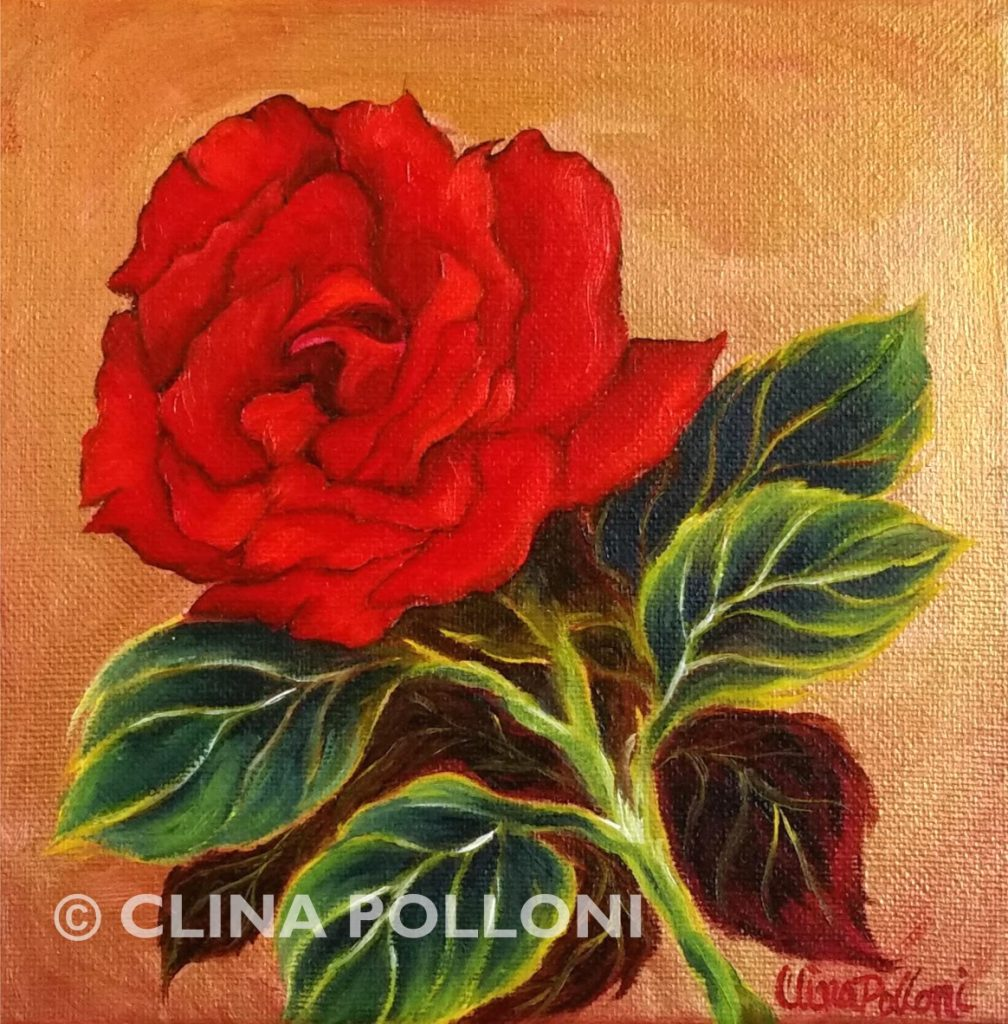 Valentine Red Rose Painting