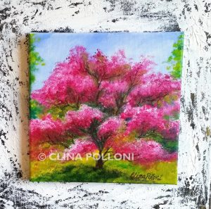 Pink Magnolia Tree Painting