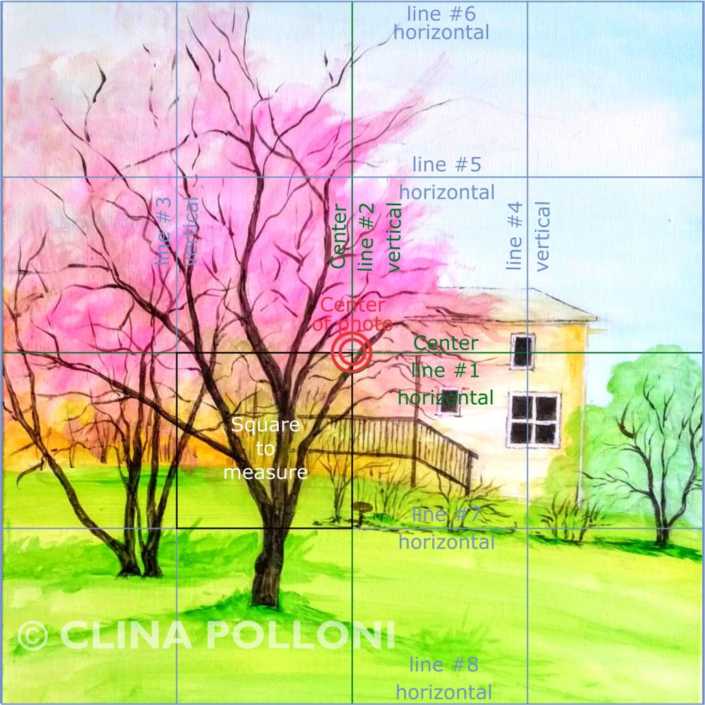 Cherry Blossom Trees-Square Grid Drawing Technic