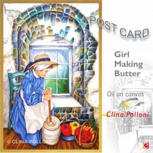 Girl Making Butter NC Postcard