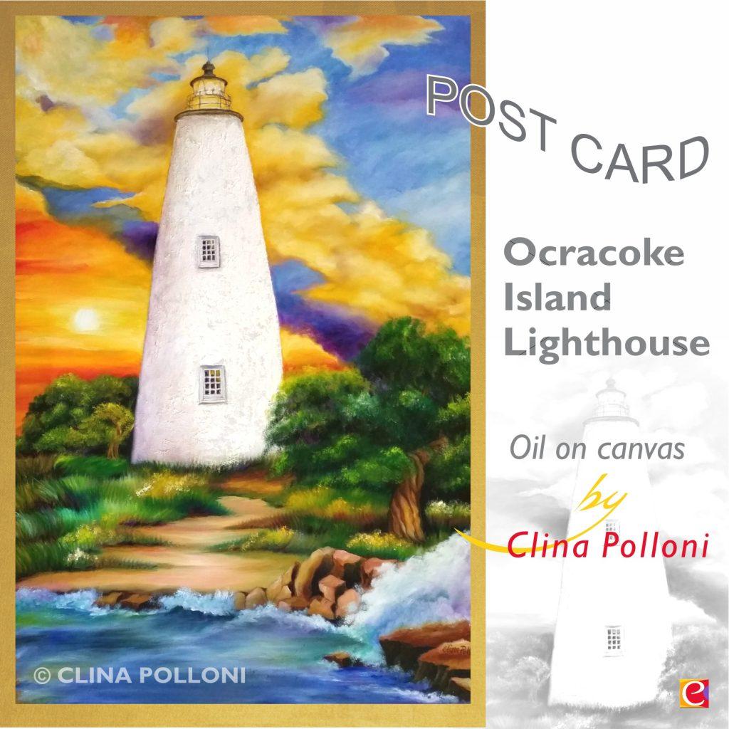 Ocracoke Island Lighthouse NC Postcard