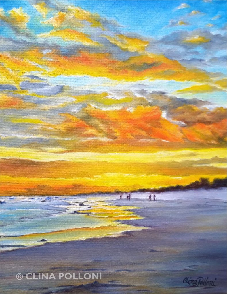 Clouds on an Ocean Sunset Seascape