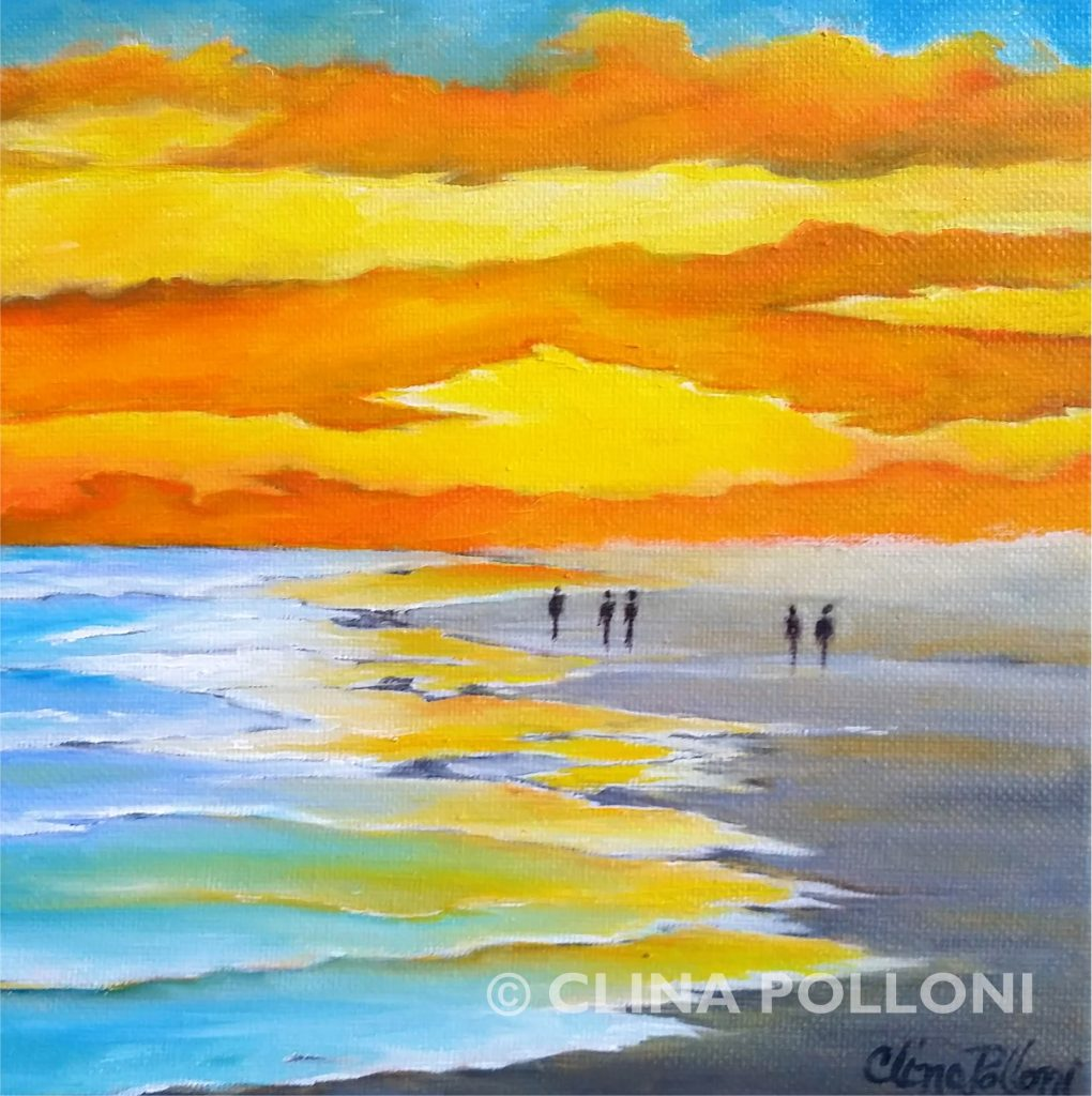 Walking on a Beach Sunset Painting