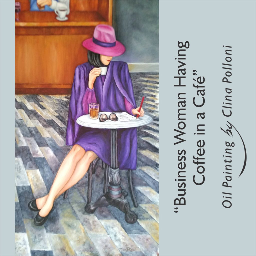 Business woman having coffee in a café painting
