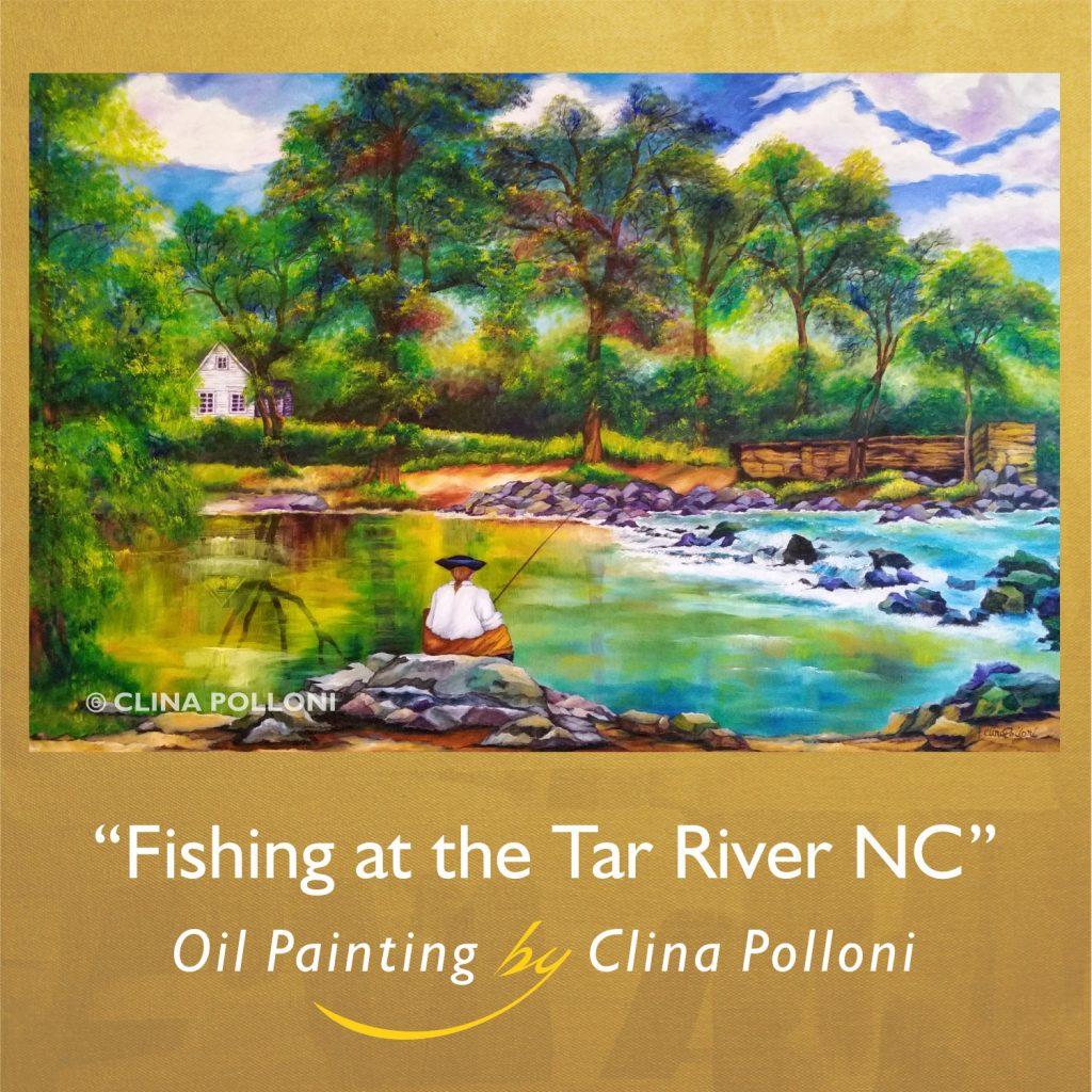 Fishing at the Tar River NC Painting