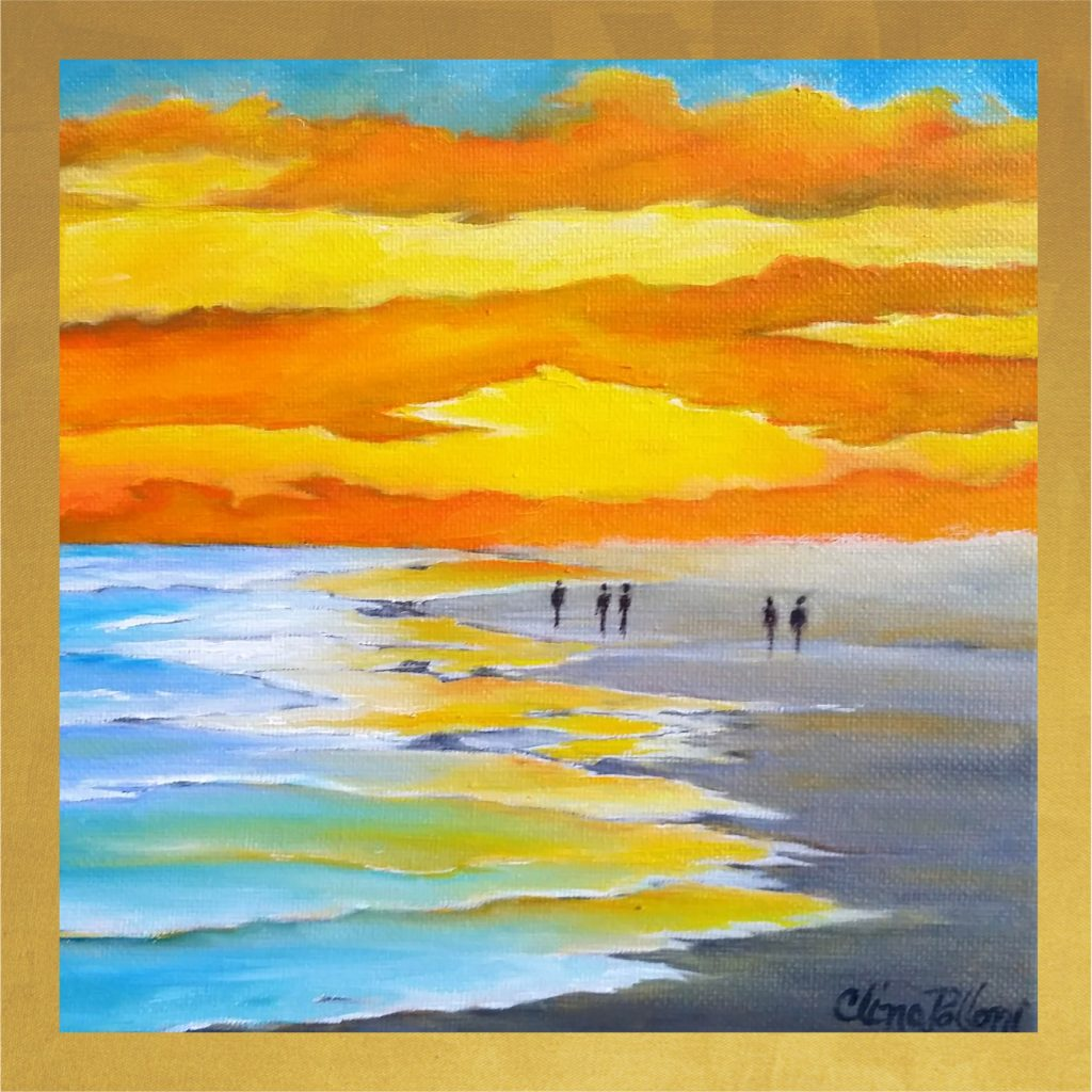 Card-5.5x5.5-Walking on a Beach Sunset
