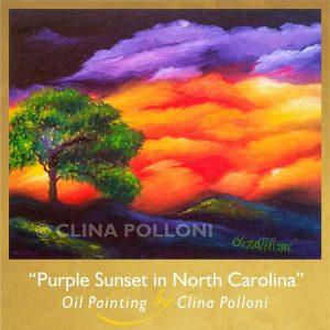 Purple Sunset in North Carolina Painting
