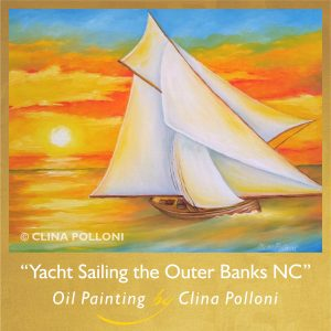 Yacht Sailing the Outer Banks NC Seascape Painting