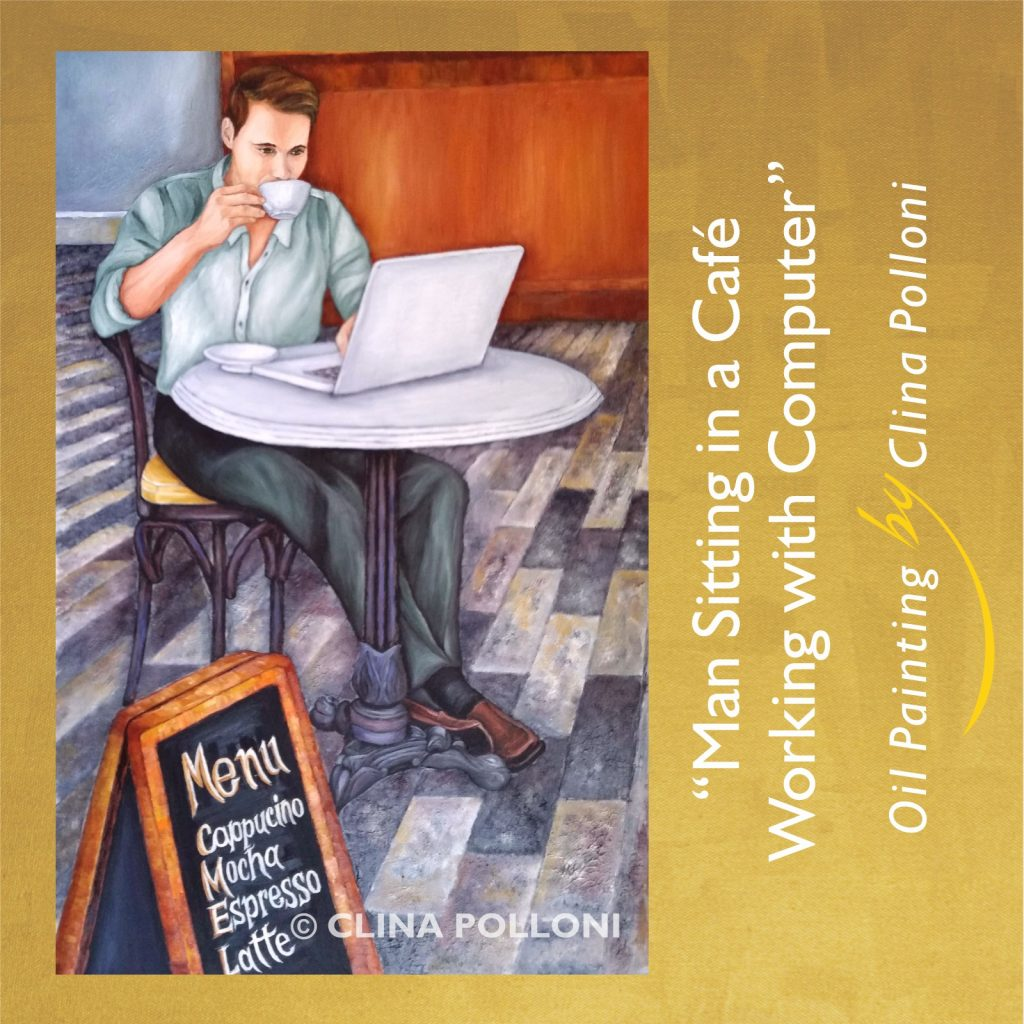 Man Sitting in a Cafe wth Computer painting