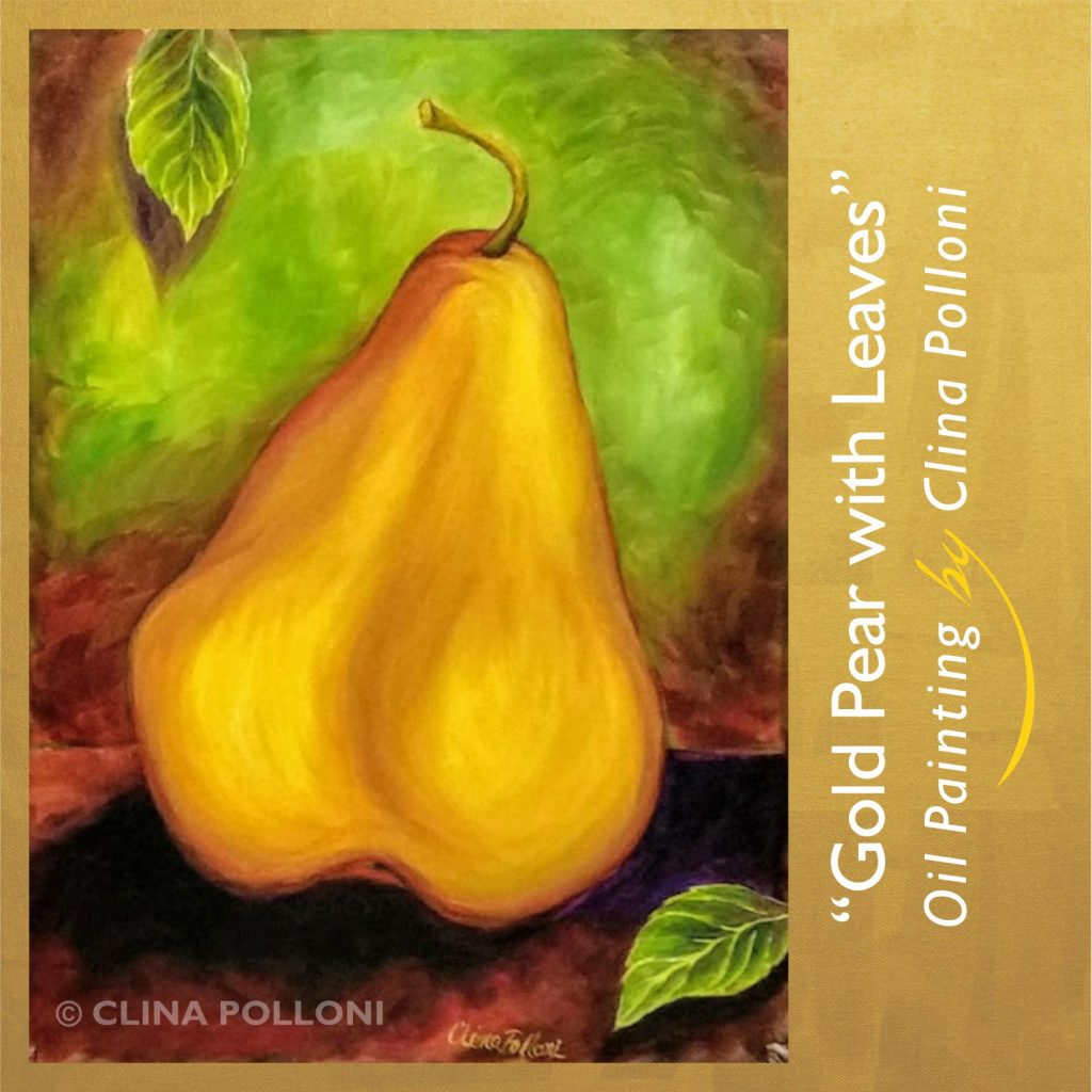 Gold Pear with Leaves Oil Painting