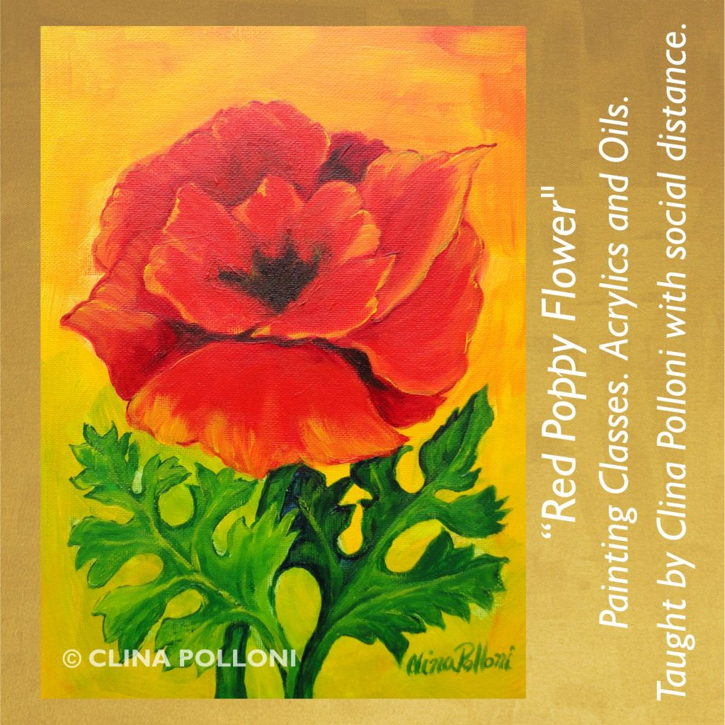 Painting Class acrylics oils-Red Poppy Flower