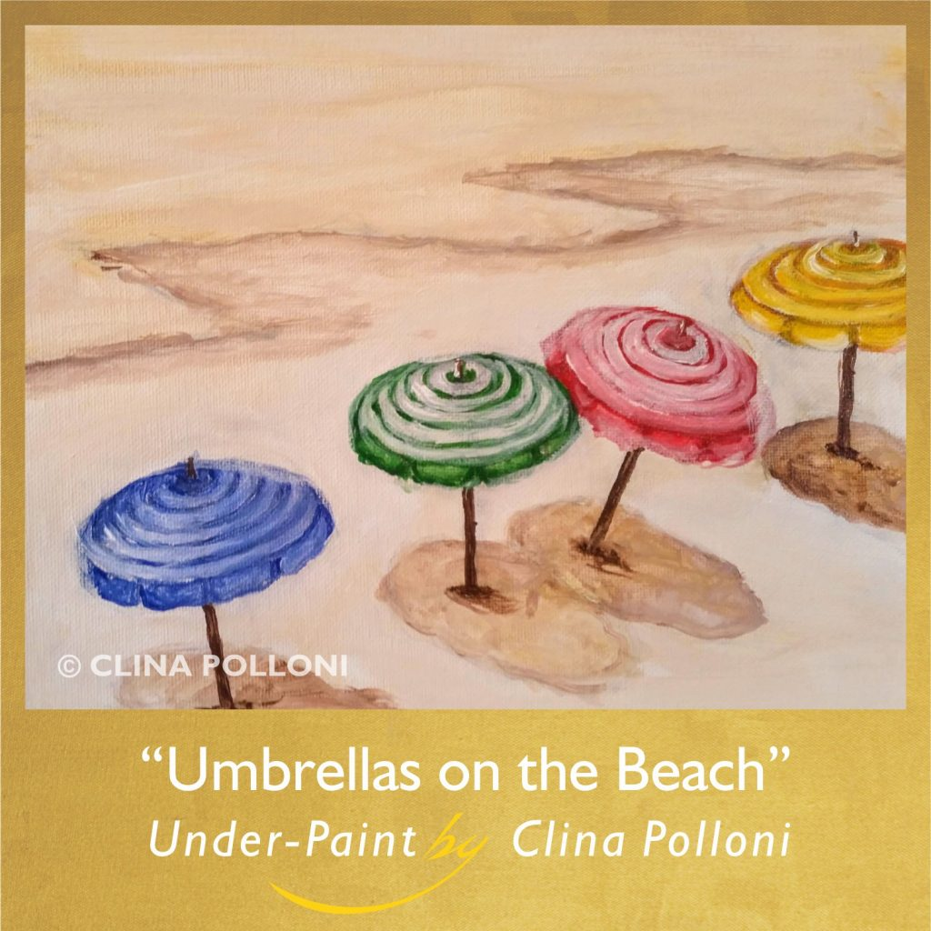 Umbrellas on the Beach-Acrylic Under-paint