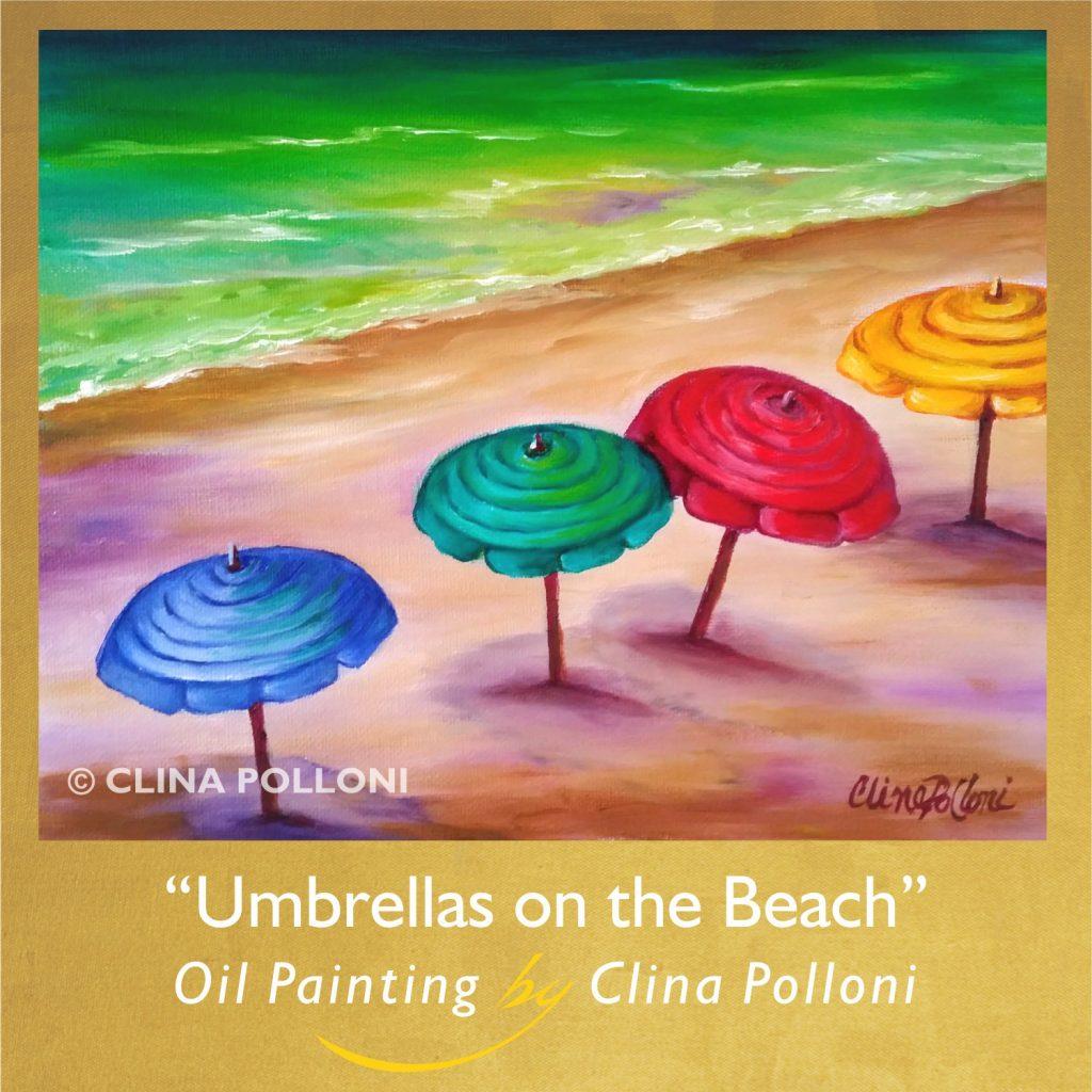 Umbrellas on the Beach-Oil Painting