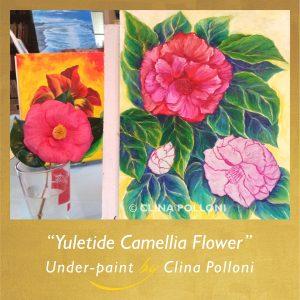 Yuletide Pink Camellia Flower Under-paint