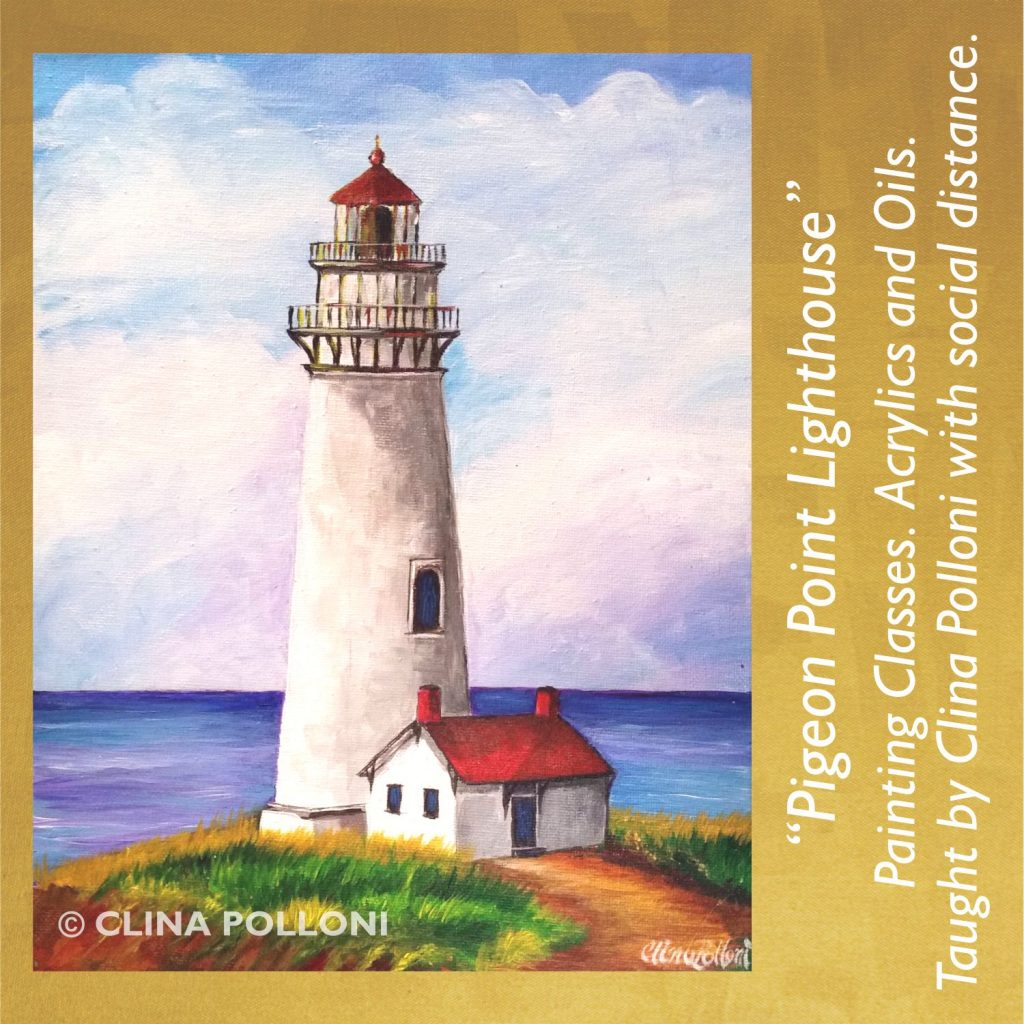 Painting Class acrylics oils-Pigeon Point Lighthouse