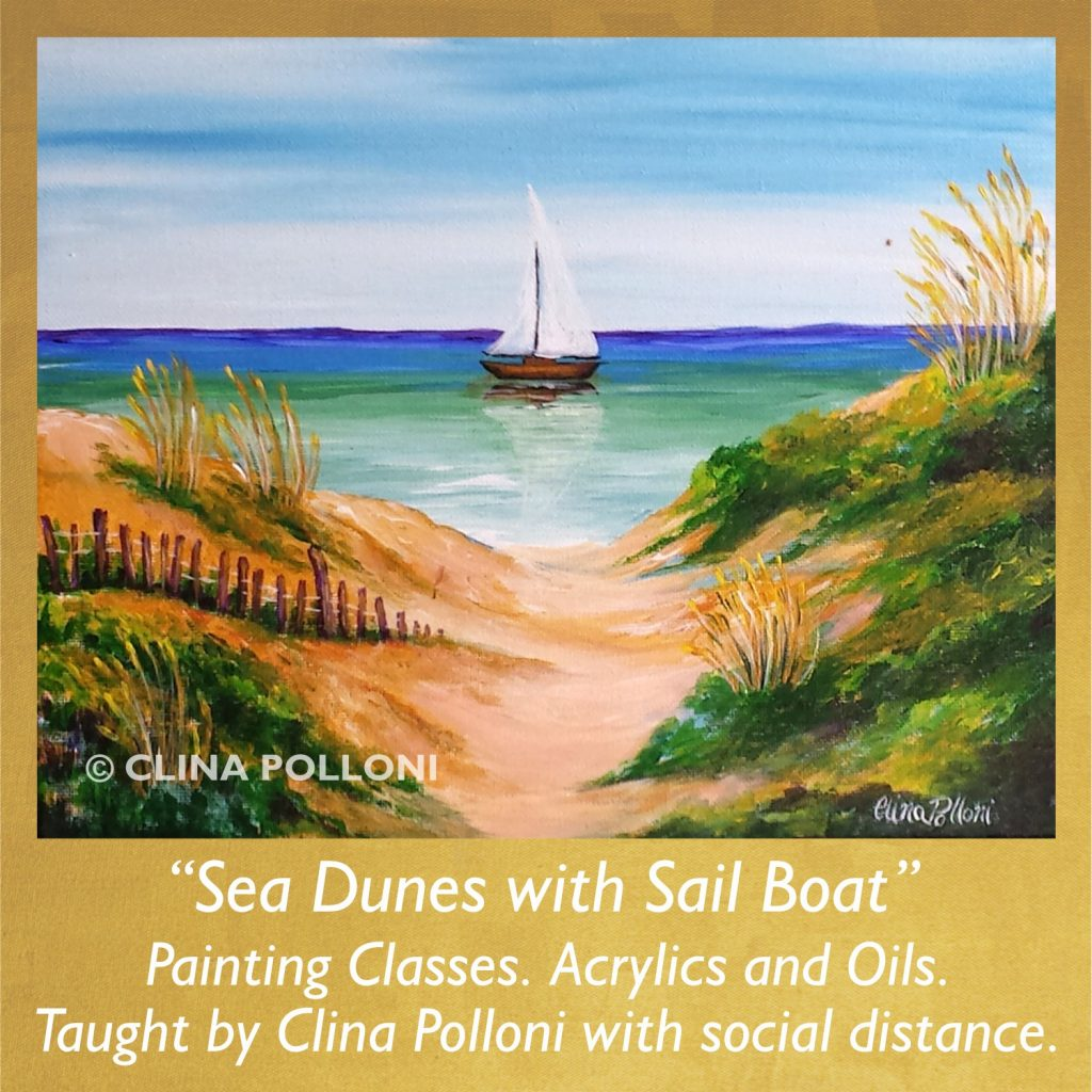 Painting Class acrylics oils-Sea Dunes with Sail Boat