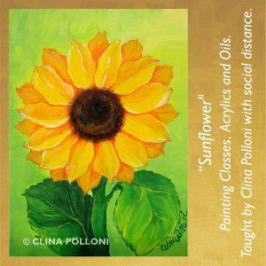 Painting Class acrylics oils-Sunflower