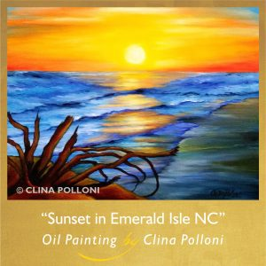 Sunset in Emerald Isle NC Painting