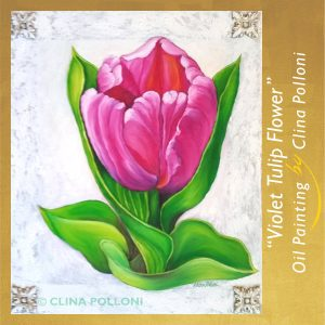 Violet Tulip Flower Painting